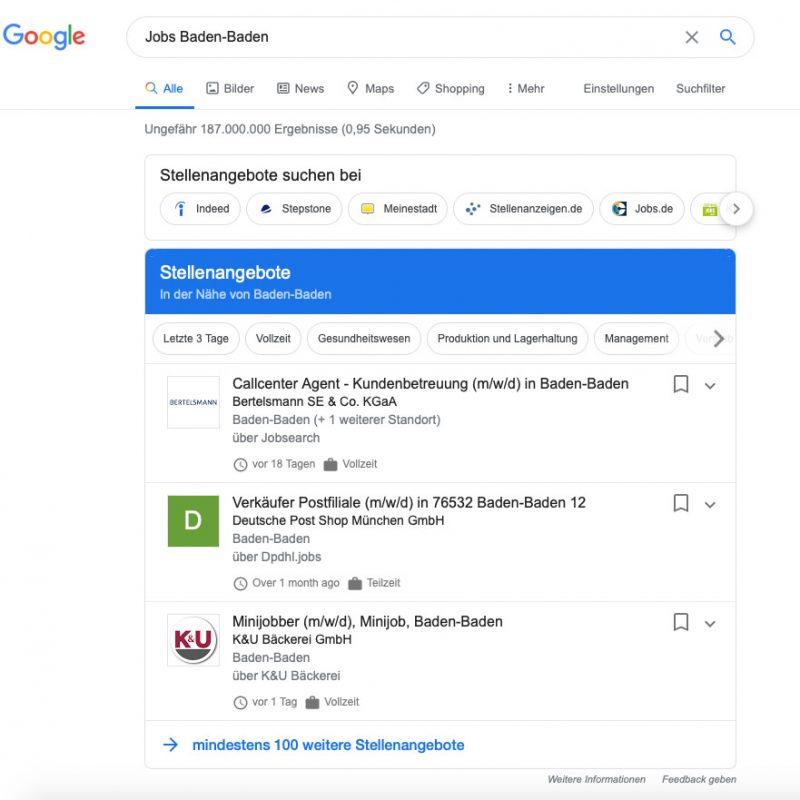 Jobanzeigen auf Google als Enriched Search Results