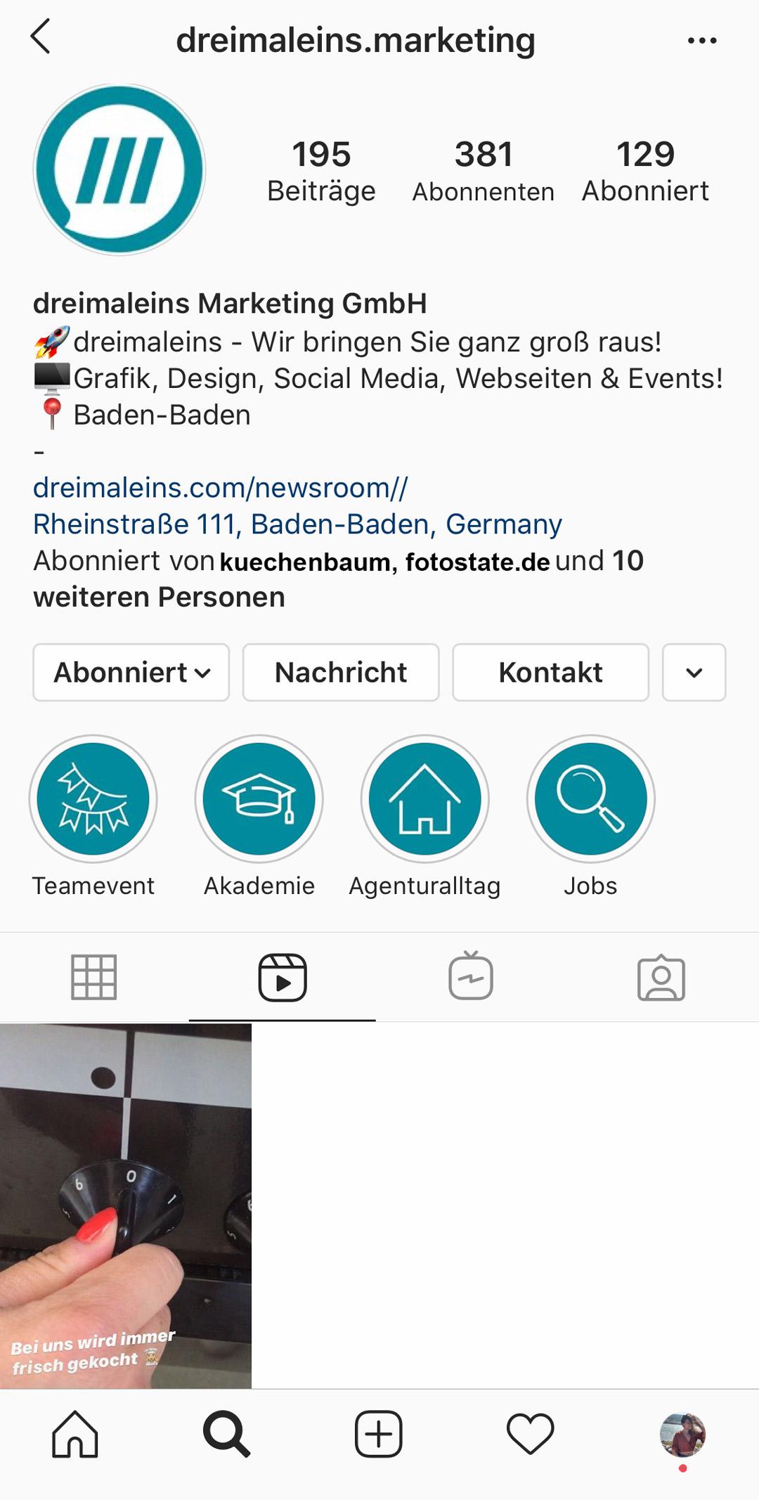 Instagram Reels auf dem eigenen Profil