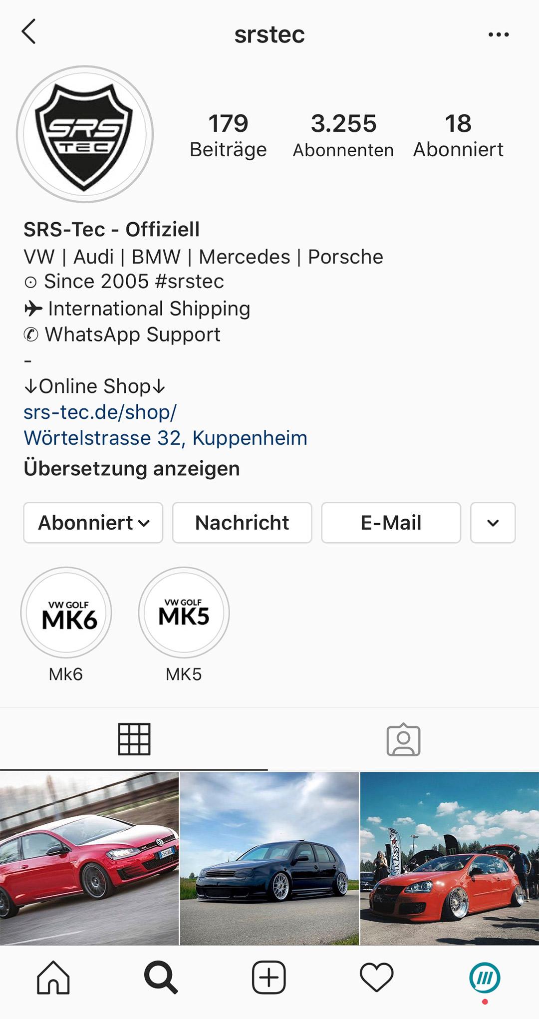 Instagram Profil von SRS-Tec