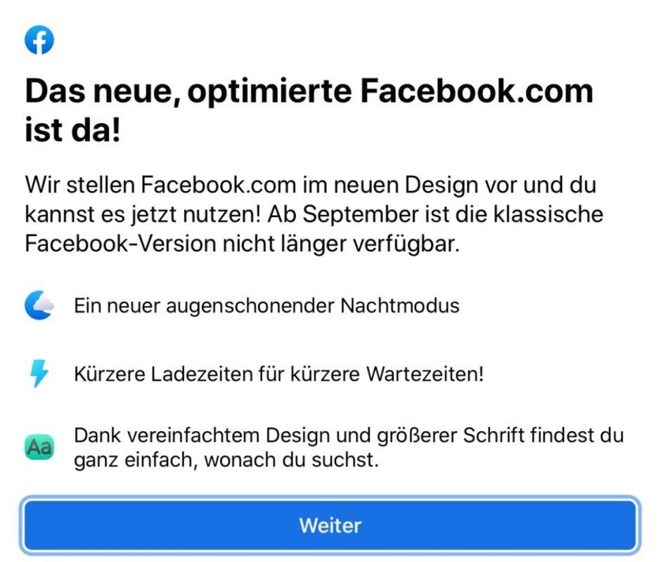 Facebook erklärt, was neu an der optimierten Desktopversion ist: augenschonender Nachtmodus, kürzere Ladezeiten und ein vereinfachtes Design