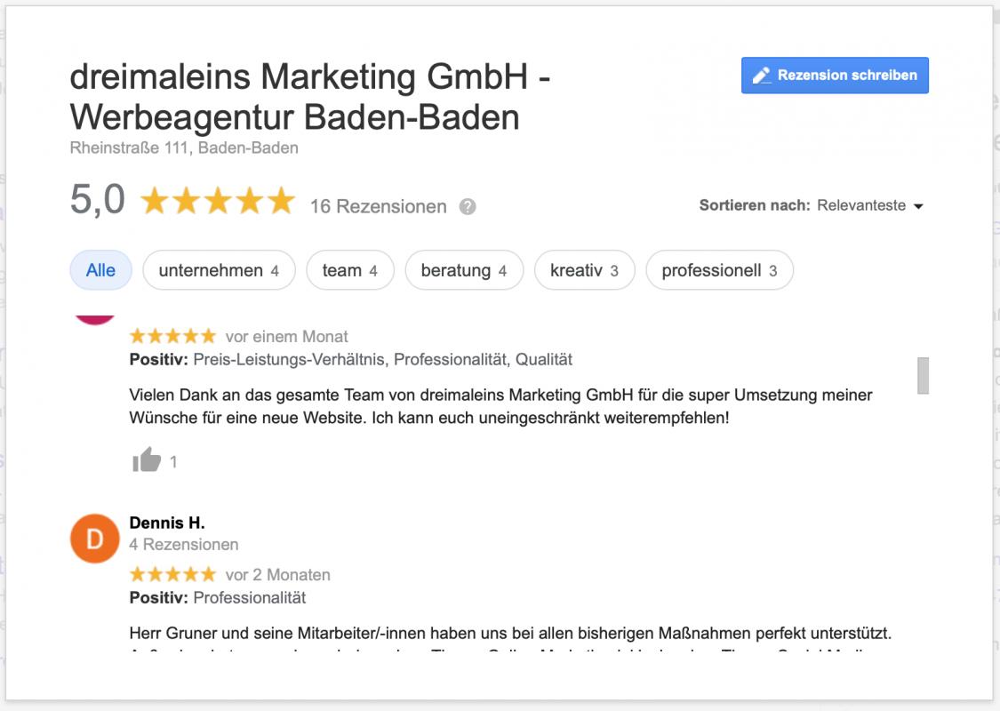 Auch auf Google können Kunden Rezensionen schreiben