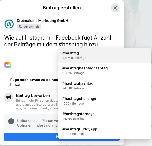 Facebook zeigt jetzt auch, wie oft der Hashtag bereits verwendet wurde