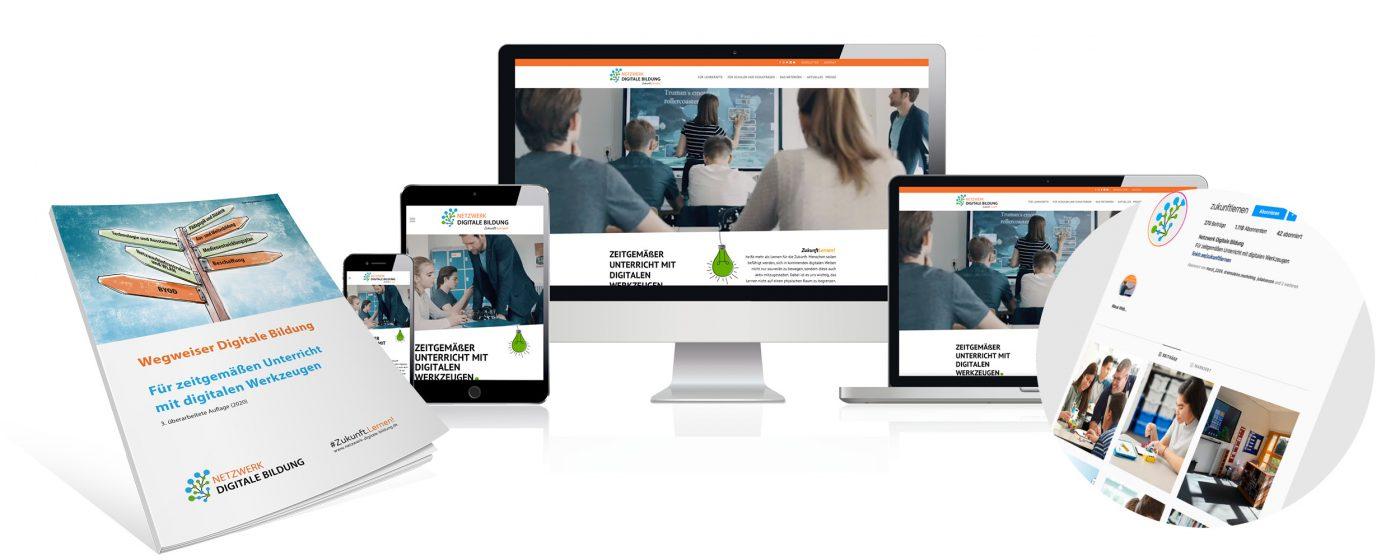 Netzwerk Digitale Bildung - Referenzen der Website, dem Wegweiser Digitale Bildung und von Social Media Posts