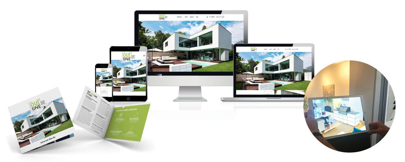 Website und Broschüre für Outline
