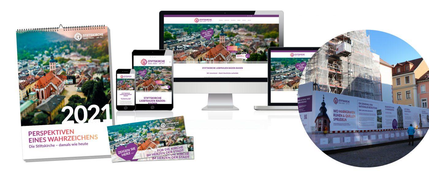Stiftskirche Liebfrauen Baden-Baden - Referenzen von Jahreskalender, Website, Spendenflyer und Bauzaunbanner