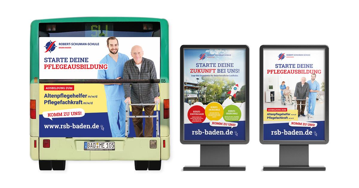 Außenwerbung - Buswerbung und Citylight-Poster - für die Robert-Schuman-Schule in Baden-Baden