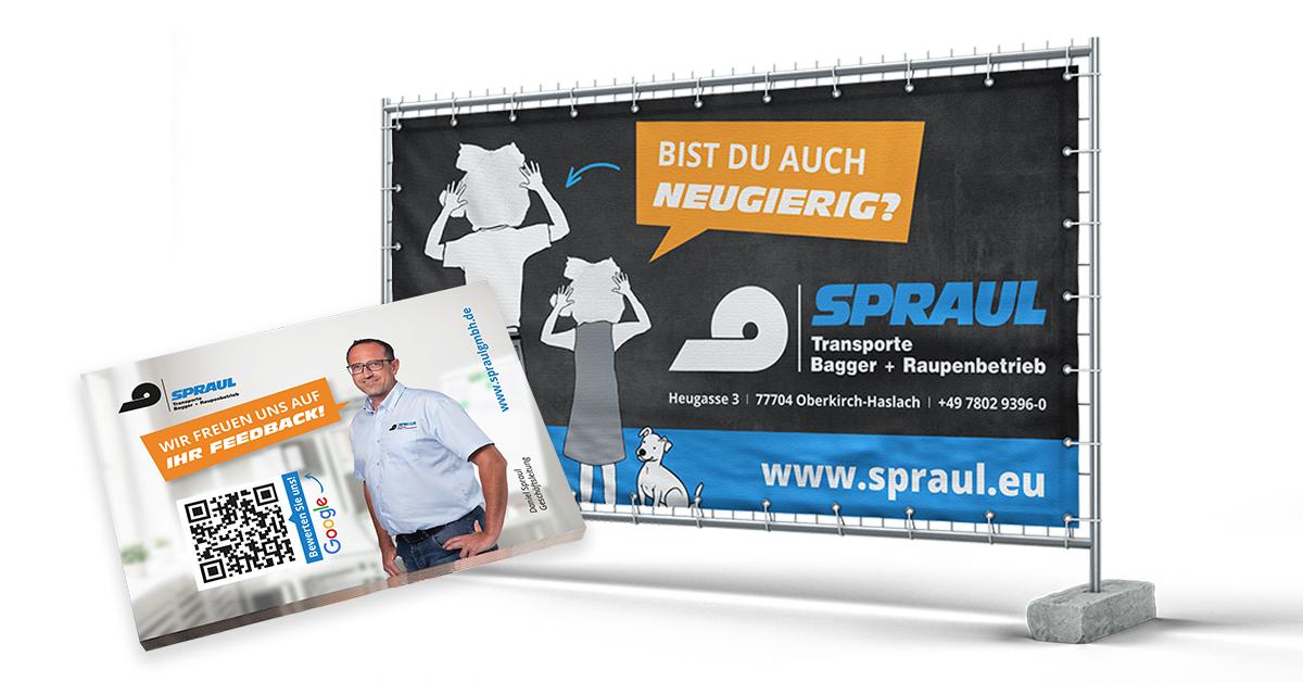 Post-Its und Bauzaunbanner für das Tiefbauunternehmen Spraul
